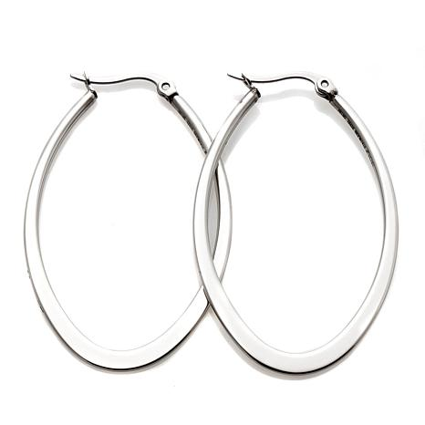 Stately Steel Oval Shaped Flat Hoop Earrings