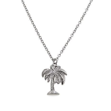 "Stately Steel Palm Tree 17"" Pendant Necklace"