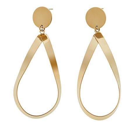 Stately Steel Pear-Shaped Wide Ribbon-Design Drop Earrings
