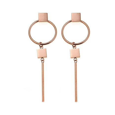 """Stately Steel Post and Circle 3-1/8"""" Drop Earrings"""