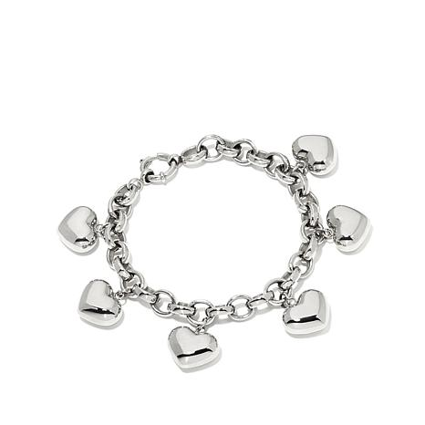 "Stately Steel ""Puff Heart"" Charm 7-1/2"" Steel Bracelet"