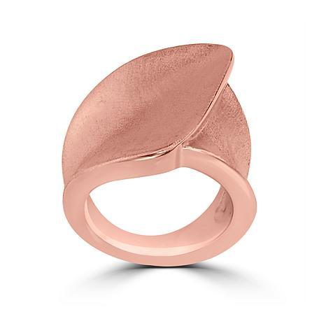 Stately Steel Rosetone Brushed Foldover Ring