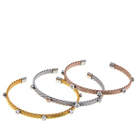 Stately Steel Set of 3 Crystal-Accented Bangles
