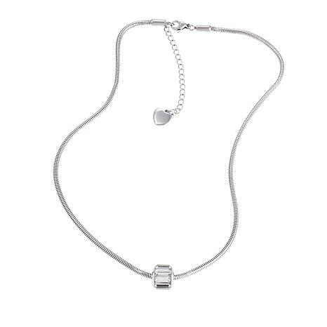 """Stately Steel Snake Chain Crystal Bead 15-1/2"""" Necklace"""