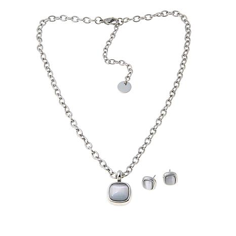 Stately Steel Square Glass Pendant Necklace and Earrings Set