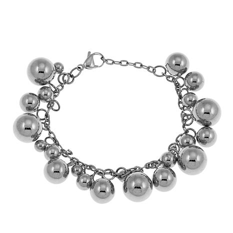 Stately Steel Stainless Steel Ball Drop Cluster Bracelet