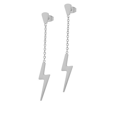 Stately Steel Stainless Steel Lightning Drop Earrings