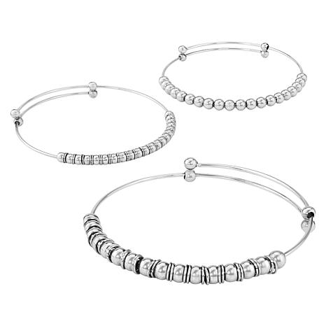 Stately Steel Stainless Steel Set of 3 Beaded Bangles