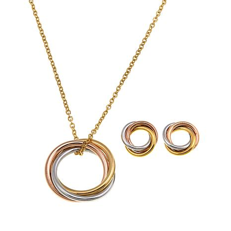 Stately Steel Tri-Colored Circle Earring & Pendant Set