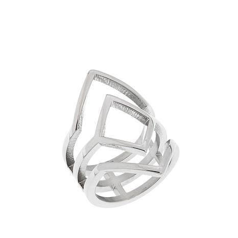 Stately Steel Triangular Cut-Out Ring
