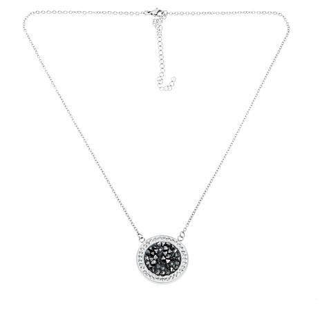 Stately Steel White/Gray Crystal Disc Pendant Necklace