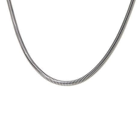 "Stately Steel Wide-Flex Snake Chain 20"" Necklace"