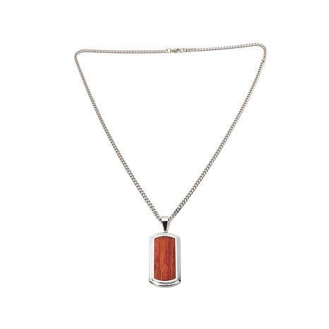 Steel Wood Inlay Dog Tag Pendant with Curb-Link Chain