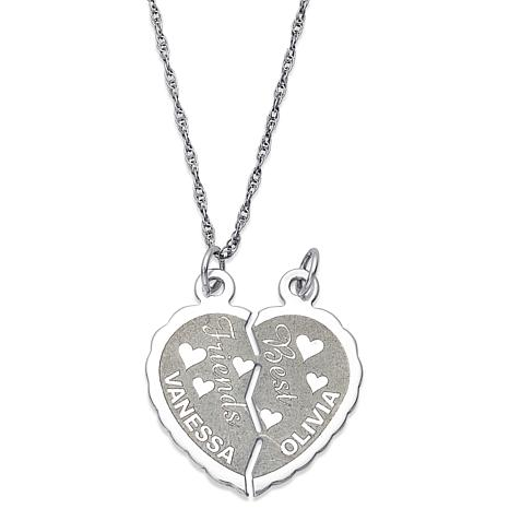 Sterling silver best friends engraved names share able heart pendant sterling best friends break able heart pendant mozeypictures Choice Image