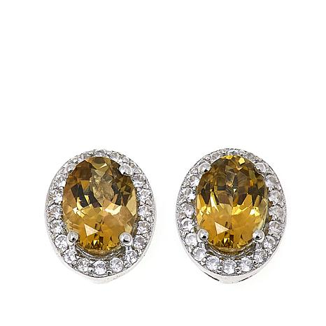 Sterling Silver 1.47ctw Yellow Zoisite and White Zircon Stud Earrings