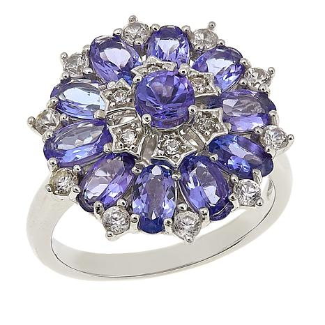 Sterling Silver 2.9ctw Zircon and Tanzanite Ring