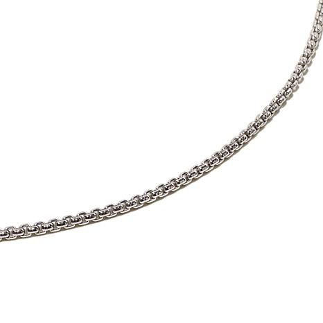 "Sterling Silver 2mm Round Box-Link 22"" Chain"