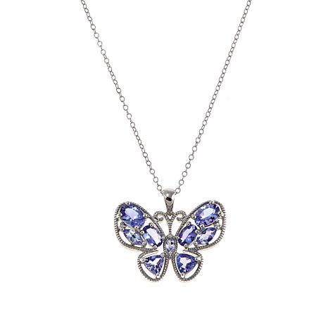 Sterling Silver 3.76ctw Zircon and Tanzanite Butterfly Pendant