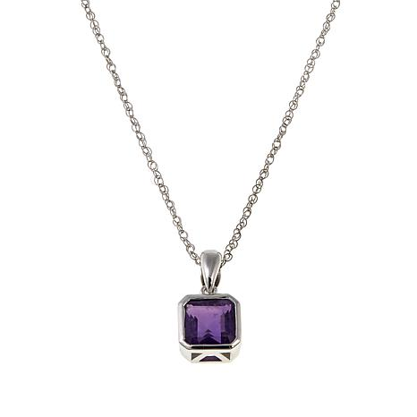 """Sterling Silver Asscher-Cut Pendant with 18"""" Chain"""