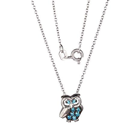 Sterling Silver Blue Cubic Zirconia Owl Pendant Necklace