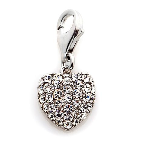 Sterling Silver Clear Crystal Heart Charm