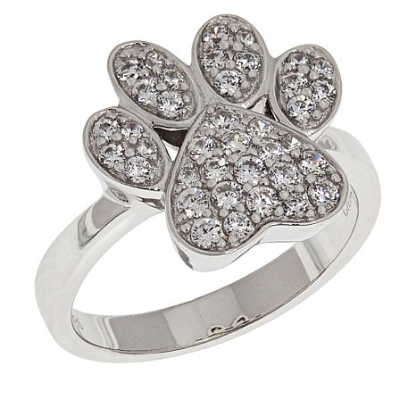 Sterling Silver Cubic Zirconia Paw Print Ring