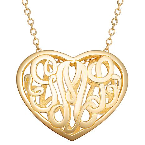 Sterling Silver Double Sided 30x24mm Heart Monogram Pendant Necklace