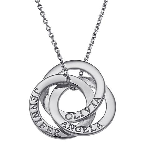 Sterling Silver Interlocking Rings Engraved Names Pendant with Chain