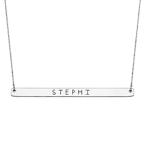 Sterling Silver Long Bar Name Necklace