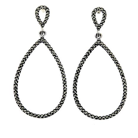 Sterling Silver Marcasite Open Teardrop Earrings