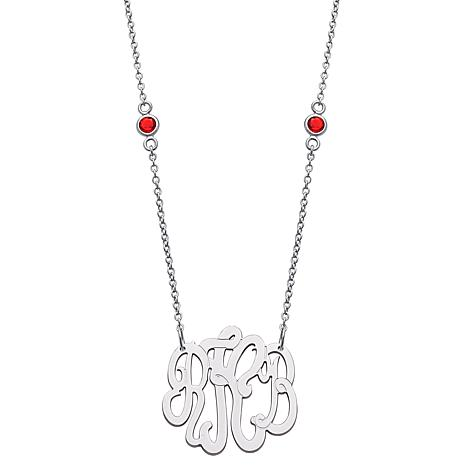 Sterling Silver Monogram and Birthstone Chain Necklace