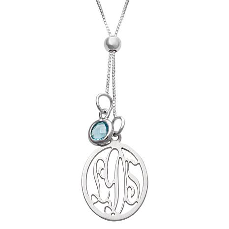 Sterling Silver Monogram & Birthstone Crystal Necklace