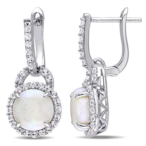 Sterling Silver Opal and White Topaz Hoop Charm Earrings