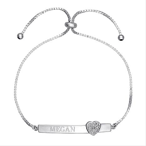 Sterling Silver Personalized Bracelet w/Diamond Charm