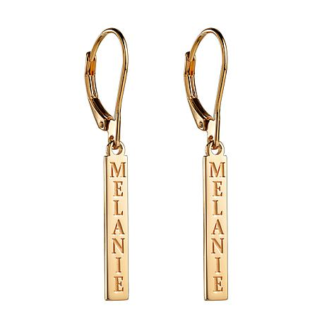 Sterling Silver Personalized Name Tag Dangle Earrings