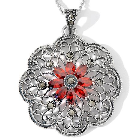 Sterling Silver Red CZ Scalloped Medallion Pendant