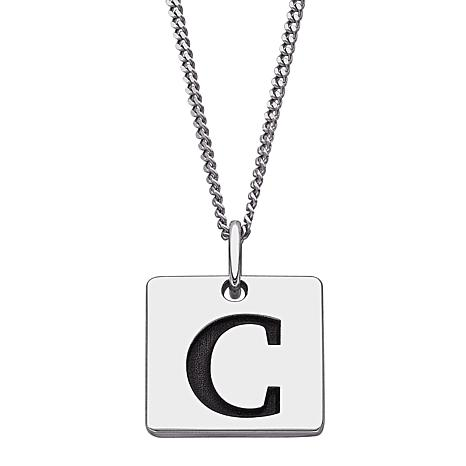 Sterling Silver Single Initial Square Pendant