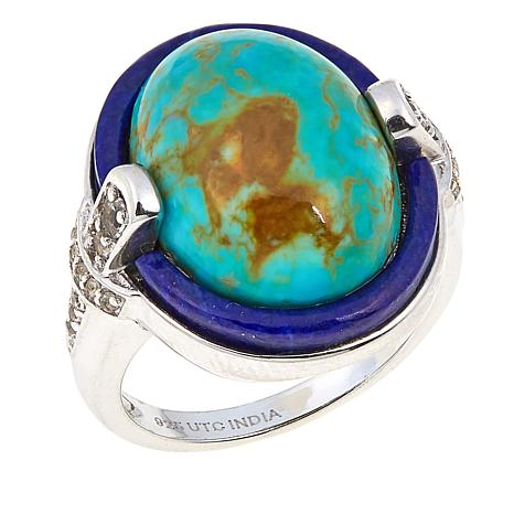 Sterling Silver White Topaz, Lapis and Oval Tyrone Turquoise Ring