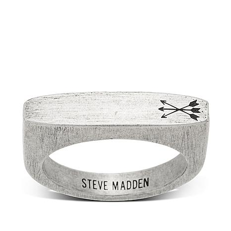 Steve Madden Bar-Shaped Burnished Stainless Steel Ring