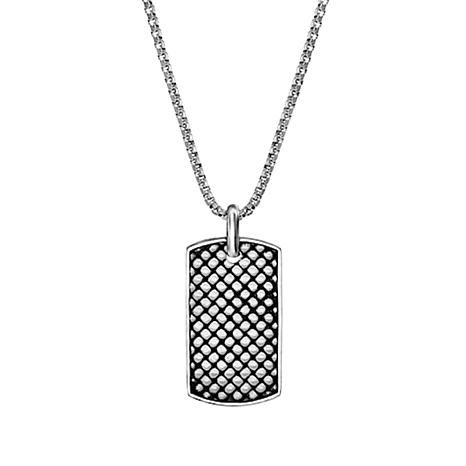 Steve Madden Men's Stainless Steel Checkerboard Dog Tag Necklace