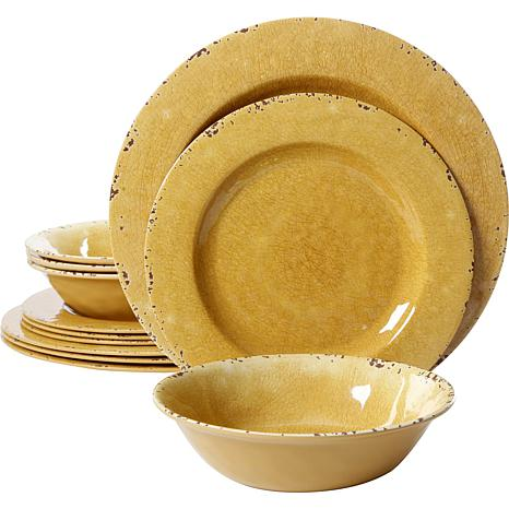 Studio California Mauna Crackle 12-piece Dinnerware Set in Yellow