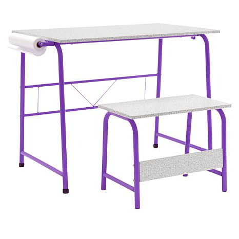 "Studio Designs Project Center Table with Bench and 12"" Paper Roll"