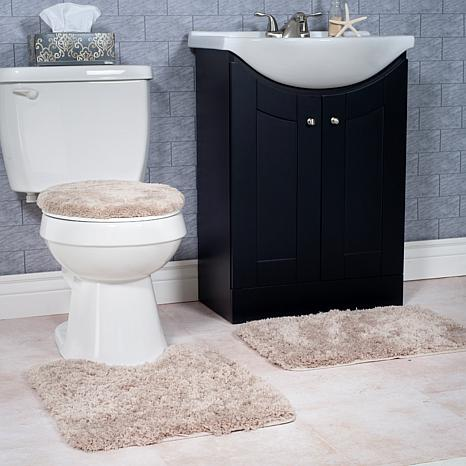 Super Plush 3-piece Non-Slip Bath Mat Rug Set - Taupe