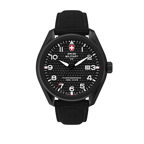 "Swiss Military by Charmex Men's ""Pilot"" Black Nylon Strap Watch"