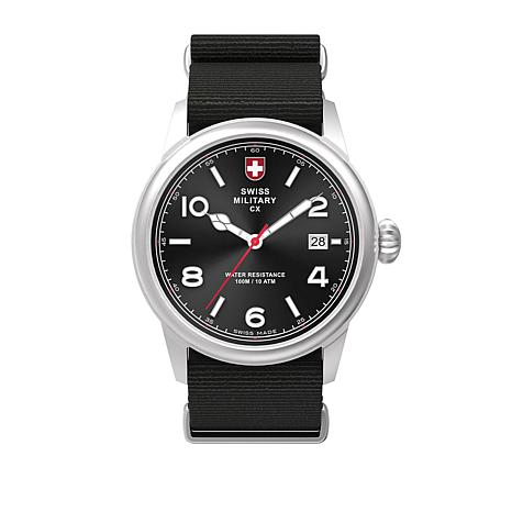 swiss military by charmex men 39 s vintage black nylon strap watch 8578884 hsn. Black Bedroom Furniture Sets. Home Design Ideas