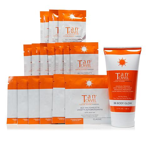 TanTowel® Classic 17-piece Kit with Body Glow Self-Tanning Cream