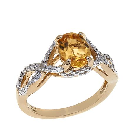 Technibond® 1.11ctw Citrine and Diamond Twist Ring