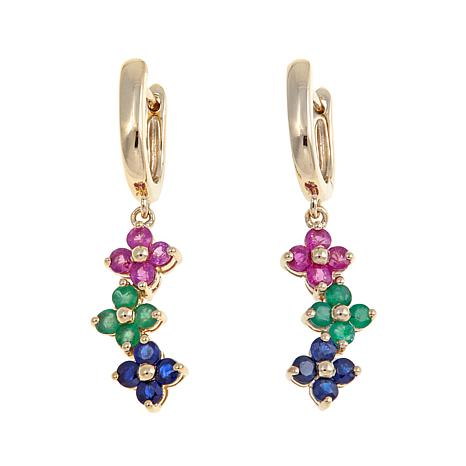 Technibond® 1.36ctw Multigemstone Floral Earrings