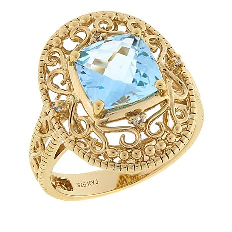 Technibond® 2.55ctw Blue Topaz and Gem Filigree Ring