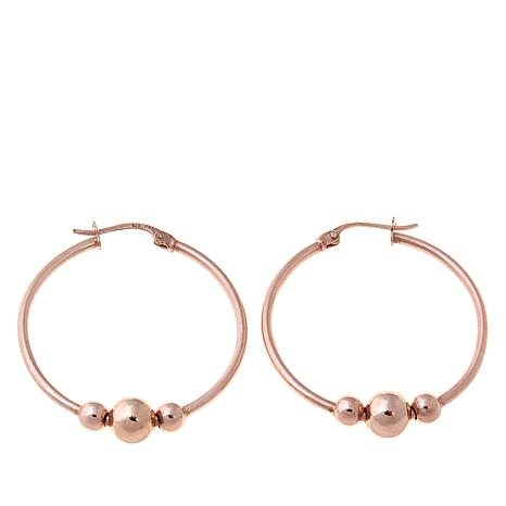 Technibond® Beaded Hoop Earrings - Rose